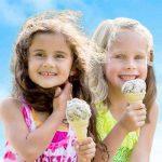 Girls enjoying Island Farms ice cream cones